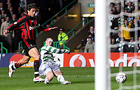 Photo: Paul Thomas.<br /> Glasgow Celtic v AC Milan. UEFA Champions League. Last 16, 1st Leg. 20/02/2007.<br /> <br /> Kenny Miller (R) of Celtic has this shot saved.