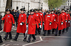 © Licensed to London News Pictures. 25/04/2019. London, UK. Chelsea pensioners take part in a ceremony at The Cenotaph on Whitehall to mark Anzac Day. Photo credit : Tom Nicholson/LNP