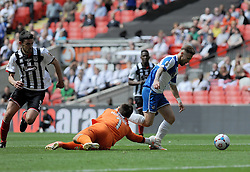 Grimsby's James McKeown appears to bring down Bristol Rovers' Matty Taylor - Photo mandatory by-line: Neil Brookman/JMP - Mobile: 07966 386802 - 17/05/2015 - SPORT - football - London - Wembley Stadium - Bristol Rovers v Grimsby Town - Vanarama Conference Football