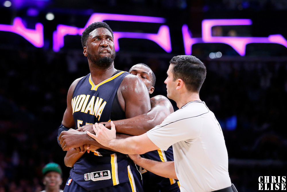 04 January 2014: Indiana Pacers center Roy Hibbert (55) is upset after being fouled by Los Angeles Lakers forward Carlos Boozer (5) during the Los Angeles Lakers 88-87 victory over the Indiana Pacers, at the Staples Center, Los Angeles, California, USA.