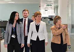 Pictured: Nicola Sturgeon at Glasgow University listening to workers from Europe about their concerns post-Brexit.<br /> <br /> SNP leader Nicola Sturgeon met workers at Glasgow University from the EU ahead of next week's European elections.<br /> <br /> © Dave Johnston / EEm