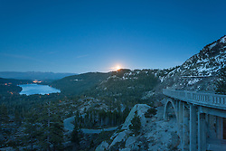 """Full Moon above Donner Lake 5"" - This full moon was photographed rising above Donner Lake and Rainbow Bridge in Truckee, California."