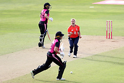 England's Katherine Brunt celebrates the wicket of New Zealand's Suzie Bates during the T20 Tri Series match at the County Ground.