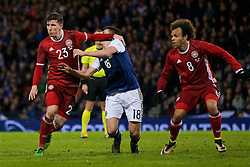 GLASGOW, SCOTLAND - Tuesday, March 29, 2016: Denmark's Pierre Emile Hojbjerg in action against Scotland's John McGinn during the friendly game at Hampden Park. (Pic by Lexie Lin/Propaganda)
