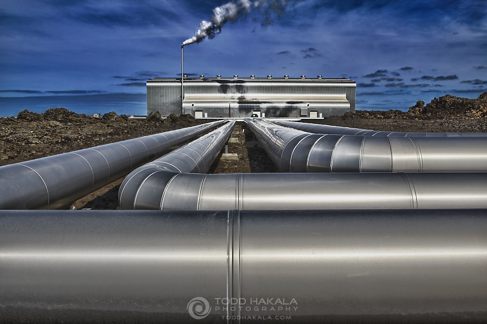 A geothermal power plant on the Reykjanes peninsula in Iceland. A short distancef from Keflavik and the Blue Lagoon, and very close to the rift where the European and North American tectonic plates are spreading apart.<br /> <br /> According to Wikipedia, Iceland generates 99.9% of their energy from hydro (73.8%) and geothermal (~26.2%) sources, and the remaining 0.1% from fossil fuels, but have plans to be 100% fossil-free in the near future. In addition, geothermal sources provide 87% of hot water and heating in Iceland.<br /> <br /> That's impressive.