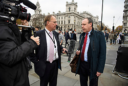 © Licensed to London News Pictures. 15/11/2018. London, UK. Deputy leader of the Democratic Unionist Party (DUP) NIGEL DODDS is seen being interviewed in Westminster the day after Cabinet agreed to back Prime Minister Theresa May's deal on Brexit. Photo credit: Ben Cawthra/LNP