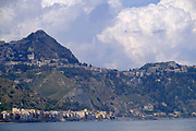 natural landscape with mountains and bay at Giardini Naxos near Taormina, Sicily, Italy