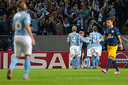 27.08.2014, Swedbank Stadion, Malm&ouml;, SWE, UEFA CL, Malmoe FF vs FC Red Bull Salzburg, Play Off, R&uuml;ckspiel, im Bild Torjubel Malm&ouml; Filip Helander, Magnus Eriksson, Erik Johansson nach dem 1:0 durch Markus Rosenberg // during the UEFA Championsleague 2nd Leg, Play Off Match between Malmoe FF and FC Red Bull Salzburg at the Swedbank Stadion in Malm&ouml;, Sweden on 2014/08/27. EXPA Pictures &copy; 2014, PhotoCredit: EXPA/ Pic Agency/ Christer Thorell<br /> <br /> *****ATTENTION - OUT of SWE*****