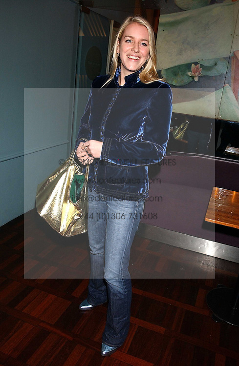 MISS LAURA PARKER BOWLES at a party to celebrate the publication of 'E is for Eating' by Tom Parker Bowles held at Kensington Place, 201 Kensington Church Street, London W8 on 3rd November 2004.<br /><br />NON EXCLUSIVE - WORLD RIGHTS