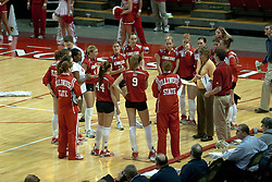 20 November 2004....ISU Head Coach Sharon Dingman addresses her team before the start of the match....Illinois State University Redbirds V Drake Bulldogs Women's Volleyball.  Redbird Arena, Illinois State University, Normal IL