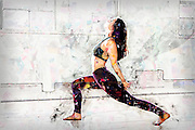 Digitally enhanced image of a Female Yoga instructor in her studio Model release Available