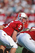 PALO ALTO, CA -  OCTOBER 2:  Scott Frost #5 of the Stanford Cardinal calls signals during an NCAA football game against Notre Dame played on October 2, 1993 at Stanford Stadium in Palo Alto, California.  Photograph by David Madison, www.davidmadison.com.
