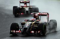 Pastor Maldonado (VEN) Lotus F1 E21 leads team mate Romain Grosjean (FRA) Lotus F1 E22.<br /> Japanese Grand Prix, Sunday 5th October 2014. Suzuka, Japan.
