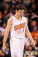 Dec 23, 2013; Phoenix, AZ, USA; Phoenix Suns guard Goran Dragic (1) walks up the court against the Los Angeles Lakers at US Airways Center. The Suns won 117-90. Mandatory Credit: Jennifer Stewart-USA TODAY Sports