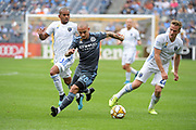 Alexandru Mitrita NYCFC gets away from Judson Thompson and Tommy Thompson of San Jose Earthquakes during a MLS soccer game, Saturday, Sept. 14, 2019, in New York.NYCFC defeated San Jose Earthquakes 2-1.(Errol Anderson/Image of Sport)