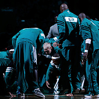 06 March 2012: Celtics players gather during the players introduction prior to the Boston Celtics 97-92 (OT) victory over the Houston Rockets at the TD Garden, Boston, Massachusetts, USA.