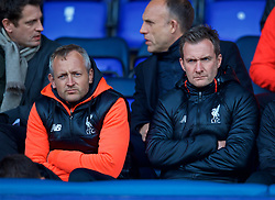 BIRKENHEAD, ENGLAND - Monday, April 24, 2017: Liverpool's Under-18 manager Neil Critchley [L] and Academy Director Alex Inglethorpe  [R] during the Under-23 FA Premier League 2 Division 1 match against Manchester City at Prenton Park. (Pic by David Rawcliffe/Propaganda)