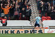Goal Blackpool Midfielder Brad Potts (8) celebrates scoring  but ruled offside during the EFL Sky Bet League 2 match between Doncaster Rovers and Blackpool at the Keepmoat Stadium, Doncaster, England on 17 April 2017. Photo by Craig Zadoroznyj.
