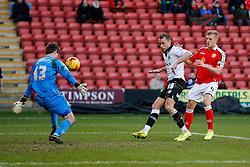 Aaron Wilbraham of Bristol City shoots past Ben Garratt of Crewe Alexandra but it comes off the upright - Photo mandatory by-line: Rogan Thomson/JMP - 07966 386802 - 20/12/2014 - SPORT - FOOTBALL - Crewe, England - Alexandra Stadium - Crewe Alexandra v Bristol City - Sky Bet League 1.