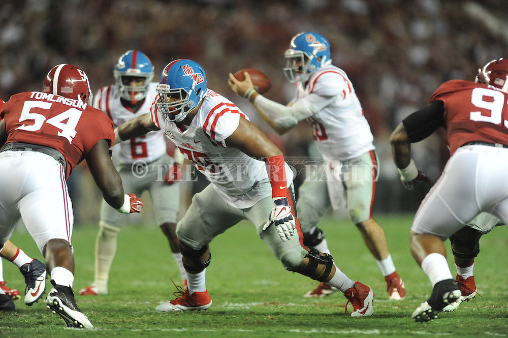 Ole Miss Rebels offensive lineman Javon Patterson (79) vs. Alabama at Bryant-Denny Stadium in Tuscaloosa, Ala. on Saturday, September 19, 2015. Ole Miss won 43-37.