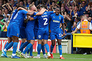 AFC Wimbledon defender Luke O'Neill (2), AFC Wimbledon attacker Michael Folivi (17) celebrating after goal to make it during the EFL Sky Bet League 1 match between AFC Wimbledon and Accrington Stanley at the Cherry Red Records Stadium, Kingston, England on 17 August 2019.