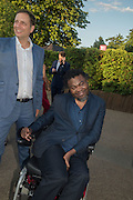YINKA SHONIBARE, Serpentine's Summer party co-hosted with Christopher Kane. 15th Serpentine Pavilion designed by Spanish architects Selgascano. Kensington Gardens. London. 2 July 2015.