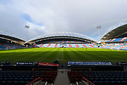 A general image of John Smith's Stadium with rainbow before the Premier League match between Huddersfield Town and Arsenal at the John Smiths Stadium, Huddersfield, England on 9 February 2019.