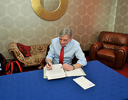 Scottish Labour leader Richard Leonard put's the finishing touches to his speech for the conference.<br /> <br /> &copy; Dave Johnston / EEm
