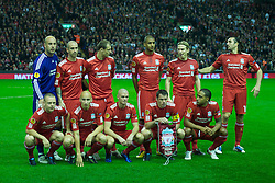 LIVERPOOL, ENGLAND - Thursday, November 4, 2010: Liverpool's player form a poor team group, reflecting their performance in the tepid match despite beating SSC Napoli 3-1 during the UEFA Europa League Group K Matchday 4 match at Anfield. Back row L-R: goalkeeper Jose Reina, Raul Meireles, Milan Jovanovic, David Ngog, Christian Poulsen, Sotirios Kyrgiakos, front row L-R: Jay Spearing, Jonjo Shelvey, Paul Konchesky, Jamie Carragher, Glen Johnson. (Photo by David Rawcliffe/Propaganda)
