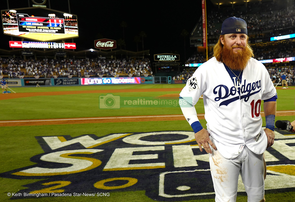 October 24, 2017 - Los Angeles, California, U.S. - Los Angeles Dodgers' Justin Turner speaks with the media after defeating the Houston Astros 3-1 during game one of a World Series baseball game at Dodger Stadium on Tuesday, Oct. 24, 2017 in Los Angeles. (Photo by Keith Birmingham, Pasadena Star-News/SCNG) (Credit Image: © San Gabriel Valley Tribune via ZUMA Wire)