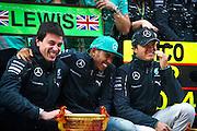 April 20, 2014 - Shanghai, China. UBS Chinese Formula One Grand Prix. Toto Wolff, Lewis Hamilton (GBR), Mercedes Petronas, Nico Rosberg  (GER)