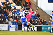 Hartlepool player Lewis Alessandra competes for a high ball in the second half during the EFL Sky Bet League 2 match between Colchester United and Hartlepool United at the Weston Homes Community Stadium, Colchester, England on 25 February 2017. Photo by Ian  Muir.