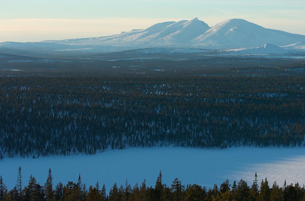 Cross country skiing ecotourism, Grovelsjon nature reserve, Dalarna, Sweden