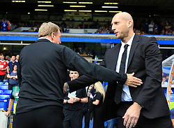 Birmingham City manager Harry Redknapp greets Reading manager Jaap Stam - Mandatory by-line: Paul Roberts/JMP - 26/08/2017 - FOOTBALL - St Andrew's Stadium - Birmingham, England - Birmingham City v Reading - Sky Bet Championship