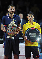 30.10.2016;  Basel; Tennis - Swiss Indoors 2016; Marin Cilic (CRO) und Kei Nishikori (JPN) mit den Pokalen<br /> (Steffen Schmidt/freshfocus)