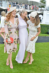 Left to right, Sarah-Jane Mee, Caroline Greenwood and Natalie Pinkham at the Qatar Goodwood Festival, Goodwood, West Sussex England. 3 August 2017.<br /> Photo by Dominic O'Neill/SilverHub 0203 174 1069 sales@silverhubmedia.com