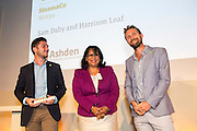 Sam Duby & Harrison Leaf of SteamaCo receiving the International Gold award from Baroness Verma at the 2015 Ashden Awards ceremony held at the Royal Geographical Society, London. UK.