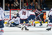 KELOWNA, CANADA - OCTOBER 13: Dallon Wilton #15 of the Kelowna Rockets scores a third period goal on Talyn Boyko #31 of the Tri-City Americans on October 13, 2018 at Prospera Place in Kelowna, British Columbia, Canada.  (Photo by Marissa Baecker/Shoot the Breeze)  *** Local Caption ***