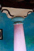 Detail of painted pillar and capital. Nagore. South India. Tamil Nadu.