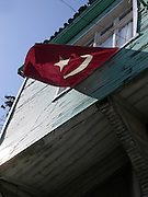 Istanbul. A national flag fluttering from the window of a private house.