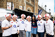 England fans enjoying the pre match atmosphere<br /> <br /> Photographer Simon King/Replay Images<br /> <br /> Six Nations Round 3 - Wales v England - Saturday 23rd February 2019 - Principality Stadium - Cardiff<br /> <br /> World Copyright © Replay Images . All rights reserved. info@replayimages.co.uk - http://replayimages.co.uk