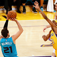 28 February 2017: Charlotte Hornets guard Marco Belinelli (21) takes a jump shot over Los Angeles Lakers forward Corey Brewer (3) during the Charlotte Hornets 109-104 victory over the LA Lakers, at the Staples Center, Los Angeles, California, USA.