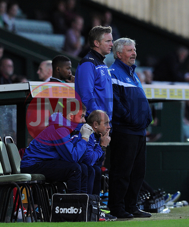 Yeovil Town's Assistant Terry Skiverton and Manager Paul Sturrock look on - Photo mandatory by-line: Harry Trump/JMP - Mobile: 07966 386802 - 30/07/15 - SPORT - FOOTBALL - Pre Season Fixture - Yeovil Town v Bristol City - Huish Park, Yeovil, England.