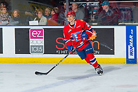KELOWNA, BC - FEBRUARY 06: Eli Zummack #29 of the Spokane Chiefs warms up against the Kelowna Rockets at Prospera Place on February 6, 2019 in Kelowna, Canada. (Photo by Marissa Baecker/Getty Images)