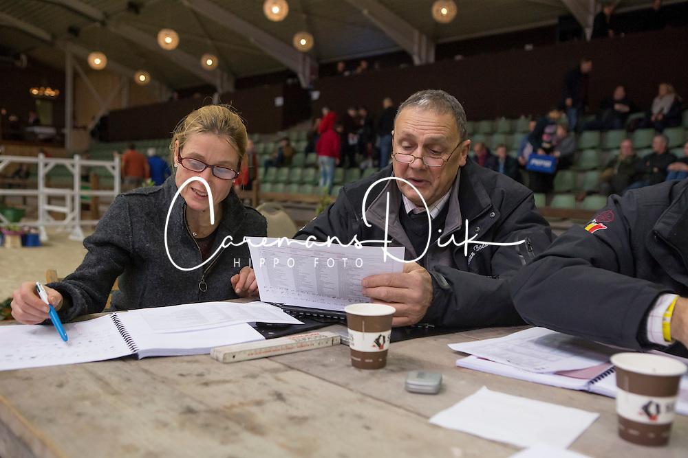 Jury, Herman Bode, Inge Meurrens<br /> BWP Hengsten keuring Koningshooikt 2015<br /> © Hippo Foto - Dirk Caremans<br /> 23/01/16