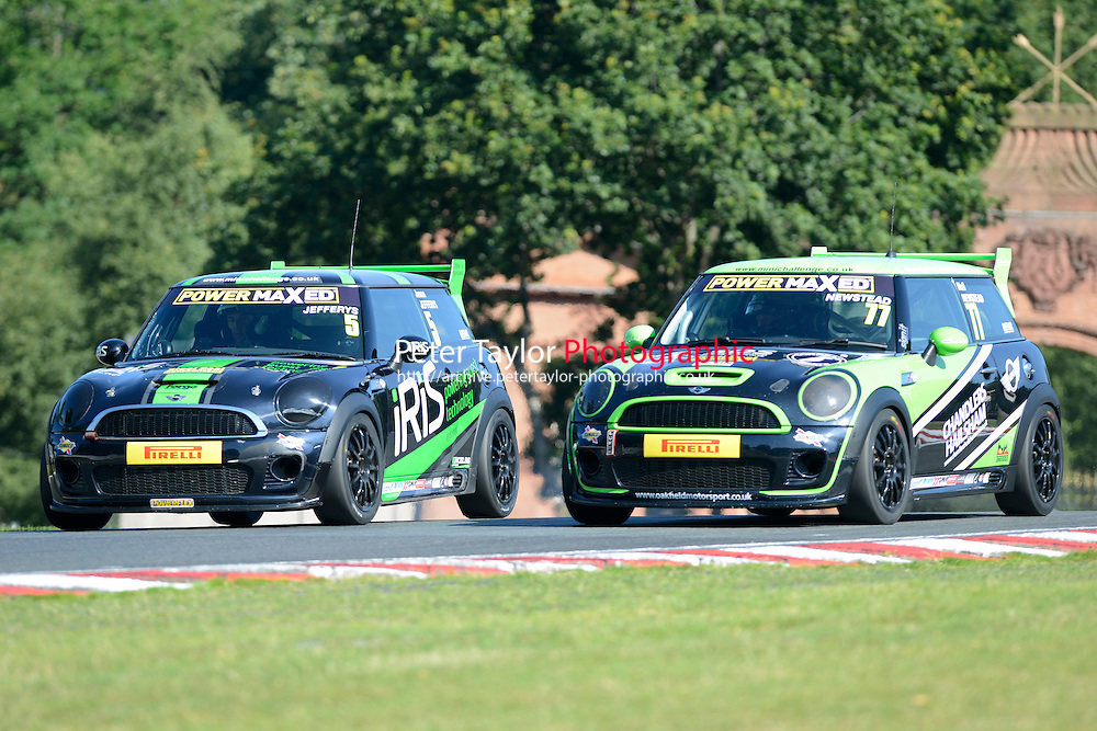 #5 Jason Jeffreys Mini JWC and #77 Neil Newstead Mini JWC during Power Maxed Mini Challenge - F56/JCW - Qualifying  as part of the Mini Festival  at Oulton Park, Little Budworth, Cheshire, United Kingdom. August 08 2015. World Copyright Peter Taylor. Copy of publication required for printed pictures.  Every used picture is fee-liable. http://archive.petertaylor-photographic.co.uk