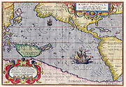 Maris Pacifici by Ortelius (1589). One of the first printed maps to show the Pacific Ocean;