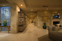Marble floored hallway with glass bricks Palm Springs
