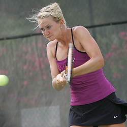 Chelsey Gullickson returns a shot during the finals of doubles competition at the AT&T$25,000 Challenger USTA Pro Women's Tennis Circuit Tournament played on March 30, 2008 at Oak Knoll Country Club in Hammond, LA. Raquel Kops-Jones and Abigail Spears defeated sisters Chelsey Gullickson and Carly Gullickson in two sets 7-5, 6-4 to when the doubles title at the AT&T 25K Challenger.