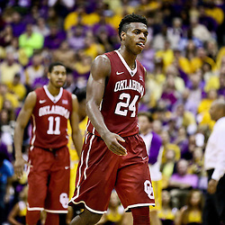 Jan 30, 2016; Baton Rouge, LA, USA; Oklahoma Sooners guard Buddy Hield (24) reacts during the second half of a game against the LSU Tigers at the Pete Maravich Assembly Center. Oklahoma defeated LSU 77-75. Mandatory Credit: Derick E. Hingle-USA TODAY Sports